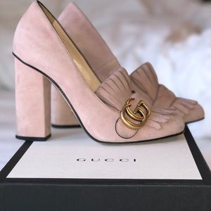 Gucci Marmont GG Suede Pumps Crystal Pink *RARE*